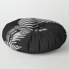 7454-KMA Striped Woman Head Down Bottom Up Black White Photo Floor Pillow