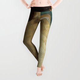 Backlite Nude Figure Oil painting Turquoise of Woman Leggings