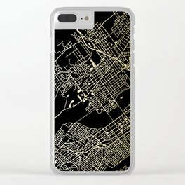 Wilkes-Barre Gold and Black Map Clear iPhone Case