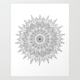 Sunflower Mandala Pattern Art Print