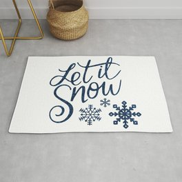 Let It Snow Blue Glitter Typography Winter Rug