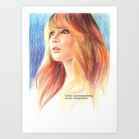 jennifer lawrence Art Prints featuring Jennifer Lawrence by xDontStopMeNow