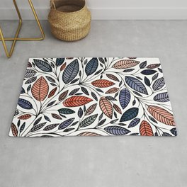 Floral Leaf Illustration *P05014 Rug