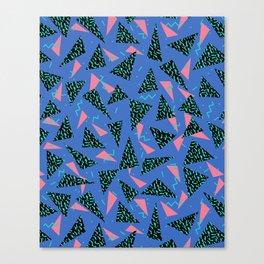 Tina - 80s Triangle print, bright tri blue memphis design, memphis triangle Canvas Print