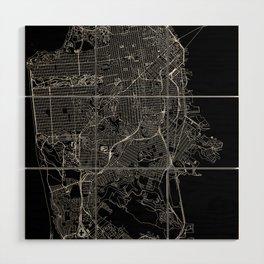 San Francisco Black Map Wood Wall Art
