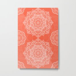 Orange background with white mandala Metal Print