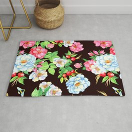 Elegant Floral Design Pattern With Charming Garden Bees Rug