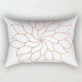Mandala Flowers Rose Gold on White Rectangular Pillow