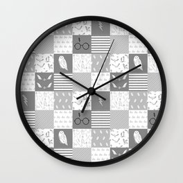 Magic Private School cheater quilt patchwork wizarding witches and wizards Wall Clock
