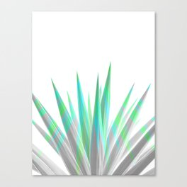 Tropical Allure - Green & Grey on White Canvas Print