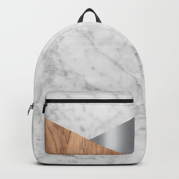 White Marble Wood & Silver #157 Backpack