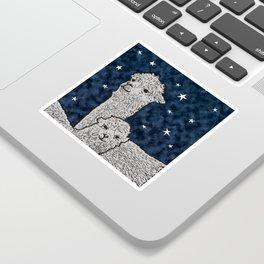 Alpacas on a starry night Sticker