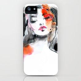 Pink, black, orange fashion illustration iPhone Case