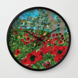 Field with poppies Wall Clock