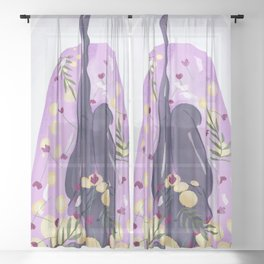Woman Taking a Bath in Lilac Water with Lemon Slices, Flowers and Palm Leaves Sheer Curtain