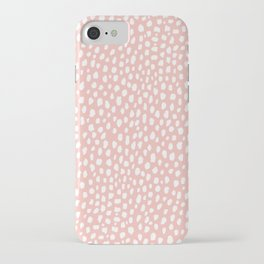 Pink Polka Dot Spots (white/pink) iPhone Case