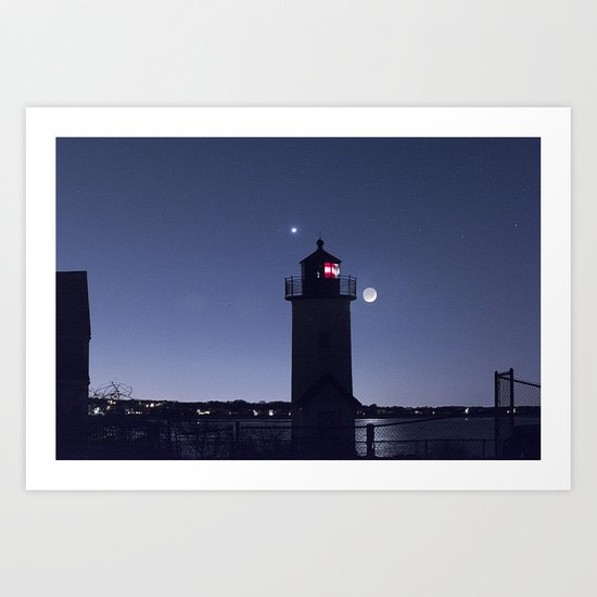 Moon Venus and the Annisquam Lighthouse Art Print