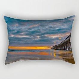 Dusk at Newport Pier Rectangular Pillow