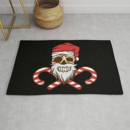 Pirate Christmas Jolly Roger Santa Hat Skull Rug