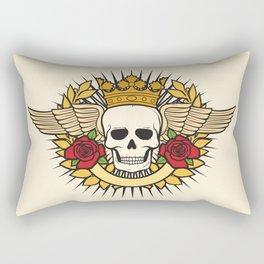skull symbol tattoo design (crown, laurel wreath, wings, roses and banner) Rectangular Pillow