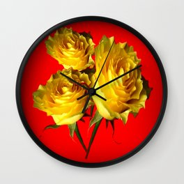 Golden Yellow Roses on Chinese Red Wall Clock