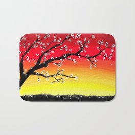 Drawing Sunset and a Blossom Tree Bath Mat