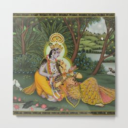 Indian Masterpiece: Radha Krishna in the garden by the stream with lotus flowers landscape painting Metal Print