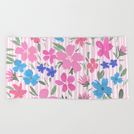 Floral Spring and Stripes Pink Beach Towel