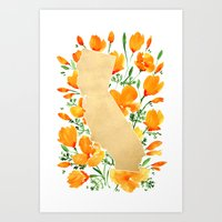 Gold California map with california poppies Art Print