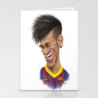 neymar Stationery Cards featuring Neymar - Barcelona by Sant Toscanni