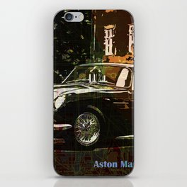 Aston Martin DB4 GT 1960 vintage classic car on New Orleans colorful map iPhone Skin