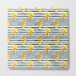 Hand painted yellow black watercolor bananas stripes pattern Metal Print
