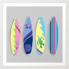 Four Surfboards Art Print