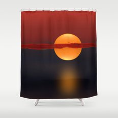 Sun on Red and Blue Shower Curtain