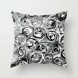 Onyx Black and White Paint Swirls Throw Pillow