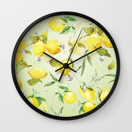 Watercolor lemons 7 Wall Clock