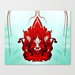 Ink Blot Red and Aqua Canvas Print
