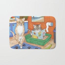 Cat in litter Bath Mat
