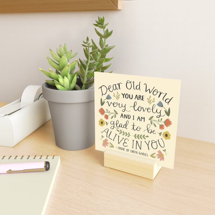 """Anne of Green Gables """"Dear Old World"""" Quote Mini Art Print"""