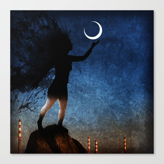 give the moon a little kiss for me Canvas Print