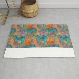 Elephant Pattern allover orange turquoise Rug