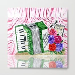 Accordion with roses Metal Print