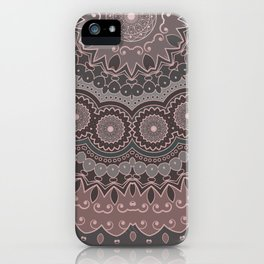 Bohemian Mandala, Rose, Pink, Gray iPhone Case