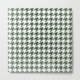 Green, Pine: Houndstooth Checkered Pattern Metal Print