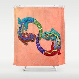 Techno Geckos Shower Curtain