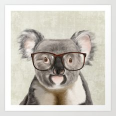 A baby koala with glasses on a rustic background Art Print