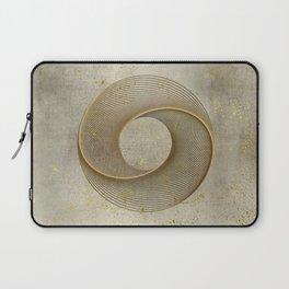 Geometrical Line Art Circle Distressed Gold Laptop Sleeve