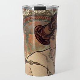 PRECIOUS STONES Alphonse Mucha Art Nouveau Topaz Travel Mug