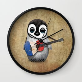 Baby Penguin Playing French Flag Guitar Wall Clock