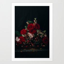 Cherries & Red Roses by Brenna Parkins Art Print